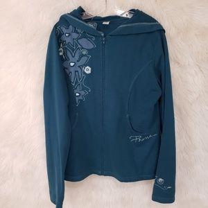 Prana teal XL zip up hoodie jacket